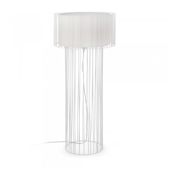 Floor lamp with white fabric screen and Eco 70W bulb