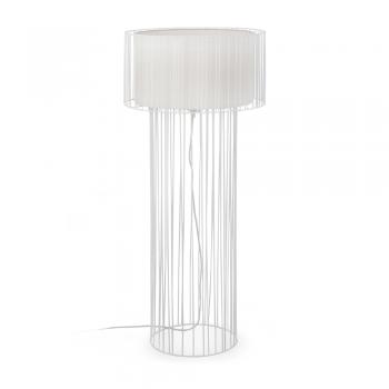 Lámpara de pie blanca con pantalla textil y portalámpara E27