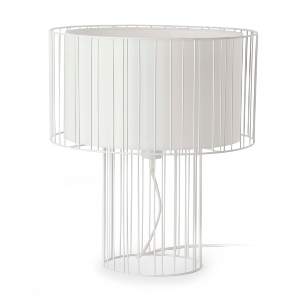 White table lamp with fabric screen and Eco 42W bulb