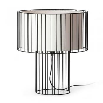 Lámpara sobremesa negra con pantalla textil y portalámpara E27