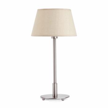 Lámpara de sobremesa con pantalla textil beige y portalámpara E14