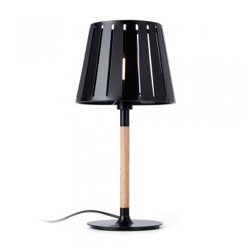 Sobremesa factory inspired en negro con madera y portalámpara E14