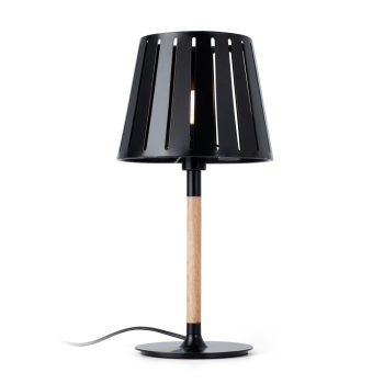 Table lamp factory black inspired in wood and Eco 42W bulb