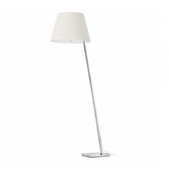 Lámpara de pie en acero y tulipa blanca con portalámpara E27