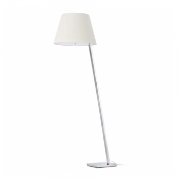 Steel floor lamp with white lampshade Eco 42W bulb