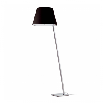 Floor lamp in steel and black lampshade bulb 42W Eco