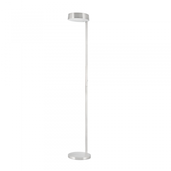 Minimal floor lamp in satin nickel with energy saving light bulb of 15W