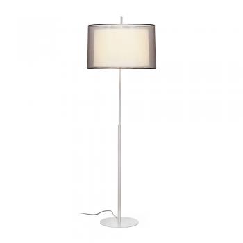 Lámpara de pie níquel mate clásica con pantalla textil