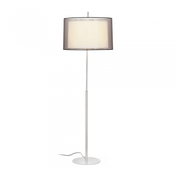 Matt nickel floor lamp with fabric screen classic and 42W bulb