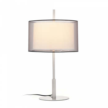 Table lamp screen matte nickel classic textile and 42W bulb