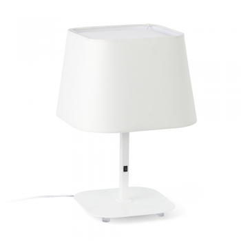 Cool table lamp with white fabric screen in Eco 42W bulb