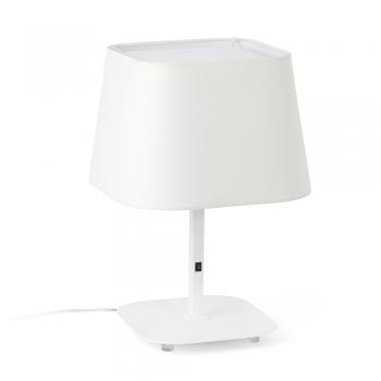 Lámpara sobremesa cool con pantalla textil en blanca