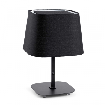 Lámpara sobremesa cool con pantalla textil en negra
