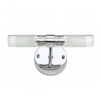 Wall light in chrome with protection IP44 Class II and two 42W halogen