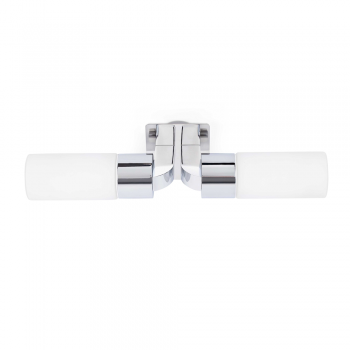 Wall light in chrome, protection IP44 Class II and two 42W candle bulbs