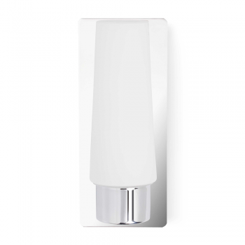 Wall light in chrome, protection Class II IP44 and 42W candle bulb
