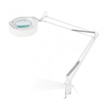 Flexo de trabajo en color blanco con lupa y tubo fluorescente de 22W