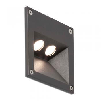 Empotrable de señalización en gris oscuro, IP65 con dos focos y LED de 3W