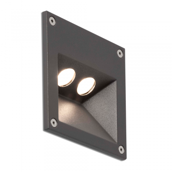 Recessed signaling in dark gray with two pockets and IP65 3W LED