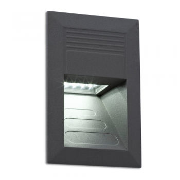 Bañador de pared IP65 en gris oscuro y LED de 1W blanco