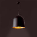 Black hanging lamp with gold home and three Eco 42W bulbs