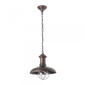 Outdoor pendant in brown rust and diameter of 32 cm with 42W bulb