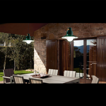 Port Outdoor Pendant green and Eco 42W bulb