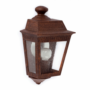 Outdoor wall light in brown rust with Eco 42W bulb