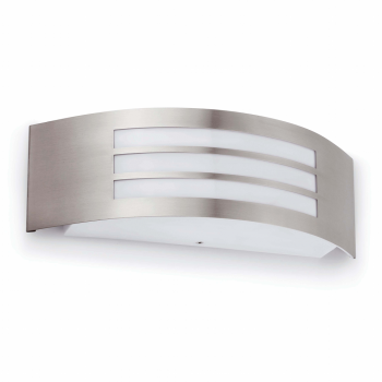 Modern style wall light in brushed nickel with energy saving light bulb 15w