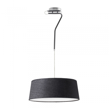 Pendant lamp with black fabric screen in 42W bulbs