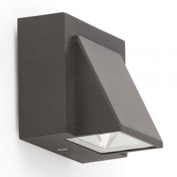 Aplique bañador de señalización en gris oscuro con LED de 1W cálido