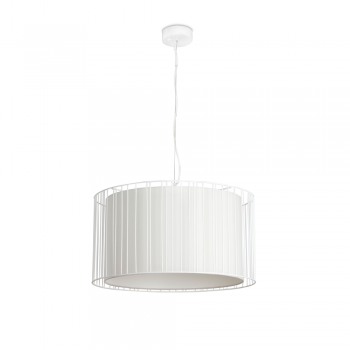 Hanging lamp with white fabric screen and Eco 70W bulb
