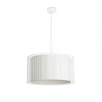 Lámpara colgante blanca con pantalla textil y portalámpara E27
