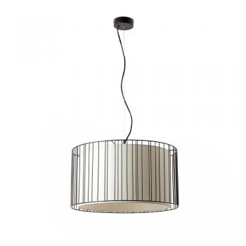 Lámpara colgante negra con pantalla textil con portalámpara E27