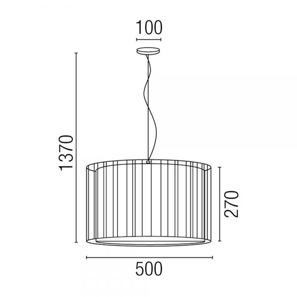Hanging Lamp Black Fabric Screen And Eco 70w Bulb