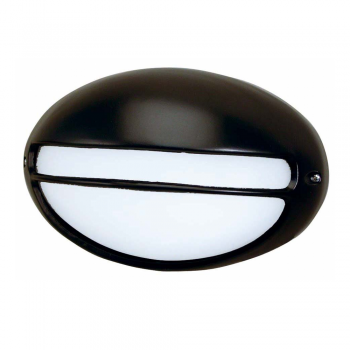 Lamp with grille and visor, black outdoor with Eco Bulb 42W