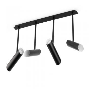 Lámpara colgante trendy negra con cuatro portalámparas GU10