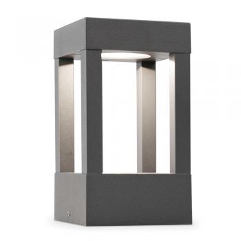 Baliza de 20 cm vanguardista en color gris oscuro con LED de 5W cálido