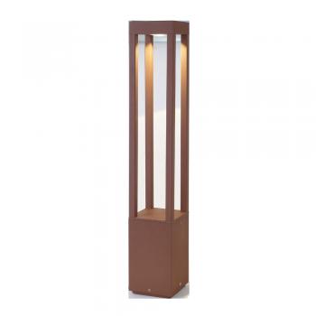 Baliza de 65 cm vanguardista en color marrón óxido con LED de 5W cálido