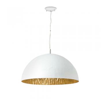 Lámpara en blanco y oro Artdeco con tres portalámparas E27