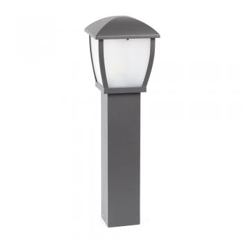 Contemporary bollard outside in dark gray and Eco 42W bulb