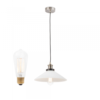 Pendant lamp with glass diffuser and decorative bulb 40W Carbon
