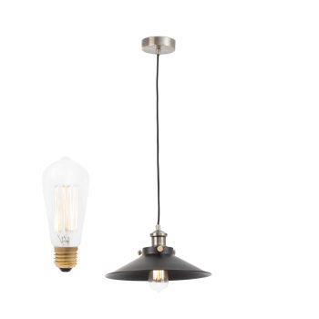 Hanging lamp made of metal and decorative bulb 40W Carbon