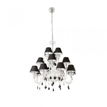 Lámpara colgante de cristal y 16 tulipas negras con portalámparas E14