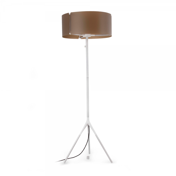 Ip65 outdoor floor lamp in white and brown with energy for Chunky white floor lamp