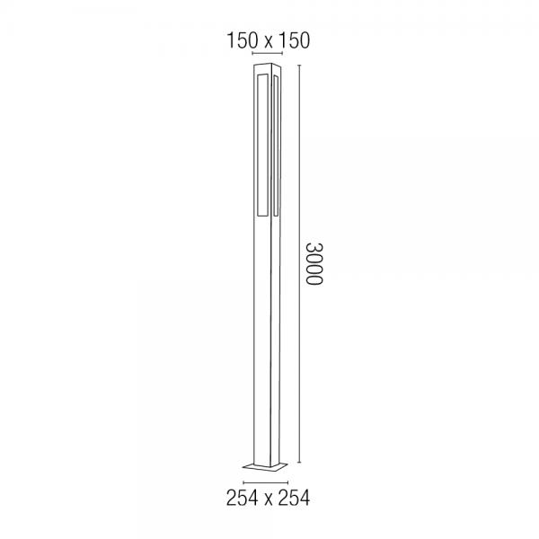 Farola moderna en gris oscuro con tres tubos t5 de 28w fr o y pernos - Farolas de jardin modernas ...