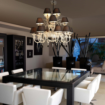 Glass pendant lamp 16 black lampshade bulbs with 28W Eco