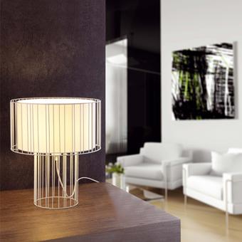 Lámpara sobremesa blanca con pantalla textil y  portalámpara E27