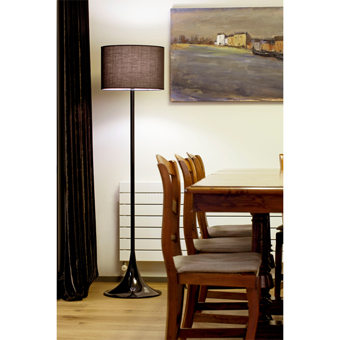 Floor lamp in black with Eco Bulb 42W