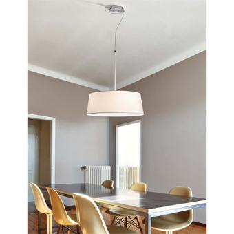 Hanging lamp with white fabric screen in 42W bulbs